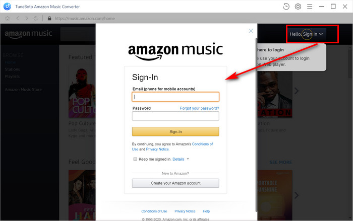 Login with your Amazon account