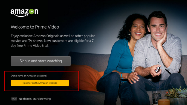 log in amazon video on tv